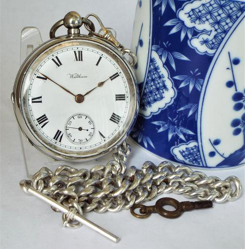 An antique silver Waltham pocket watch & chain. (1 of 6)