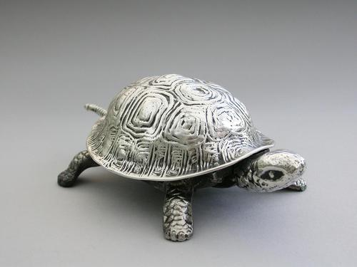 Edwardian Novelty Silver Mounted Tortoise Desk Bell by Grey & Co, Chester, 1907 (1 of 11)