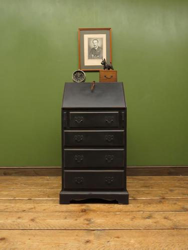 Small Antique Painted Black Writing Bureau desk with fall front, Gothic (1 of 14)