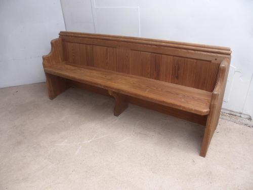 Lovely Victorian Antique Pine Pew 1868 from St Cynbryds Church to wax / paint (1 of 9)