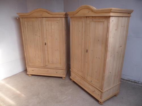 Pair of Antique Pine Arch Top 1 Panel Knockdown Wardrobes to wax / paint (1 of 12)