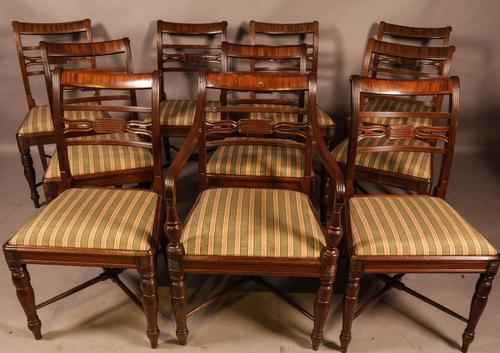 Rare Set of 10 Regency Period Mahogany Dining Chairs (1 of 17)