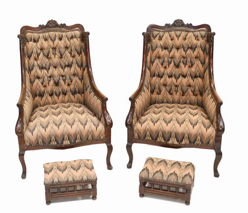 Pair of Victorian Salon Chairs Arm Club Chair Stools (1 of 15)