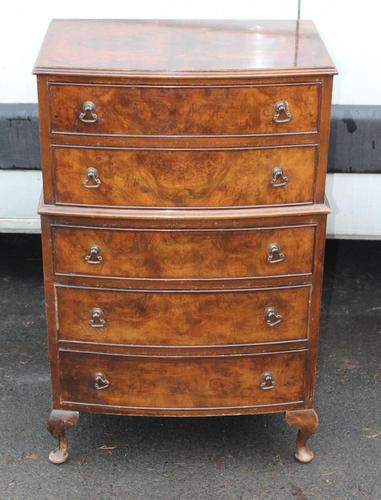 1960s Small Mahogany Bow Chest 5 Drawers (1 of 4)
