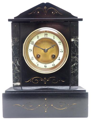 Good Slate & Marble Mantel Clock 8 Day Striking Mantle Clock (1 of 9)