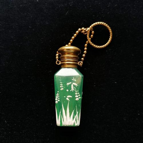 19th Century Jade Green, Mary Gregory Style Scent Bottle c.1890 (1 of 6)