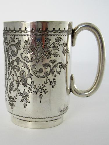 Late Victorian Hand Engraved Silver Christening Mug with Gilt Interior (1 of 7)