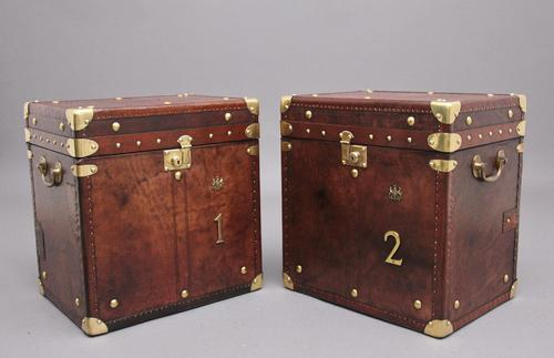 Pair of Early 20th Century Leather Bound ex Army Trunks (1 of 11)