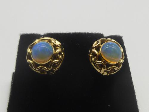 9ct Gold Opal Screw Fitting Earrings (1 of 6)