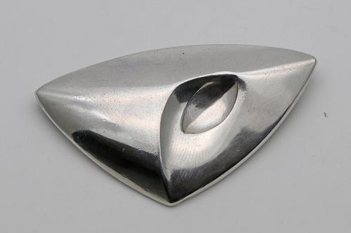 Modernist Brooch of Triangular Outline, by Georg Jensen (1 of 2)