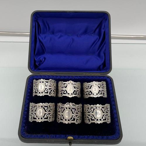 Early 20th Century Antique Edwardian Sterling Silver Set Six Napkin Rings London 1906 George Maudsley Jackson & David Fullerton (1 of 7)