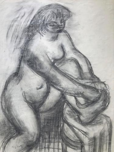 Original Expressionist Pencil Drawing 'Double Sided' of a Woman Washing by Tony Bartl 1910-2002. Signed & Dated 48 (1 of 4)