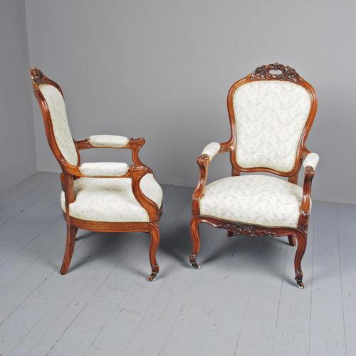 Antique Pair of French Rosewood Armchairs (1 of 19)