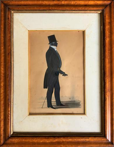 Naval Officer - Early 19th Century Georgian Silhouette Watercolour Portrait Painting (1 of 12)