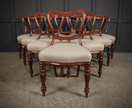 Set of 10 Kidney Back Mahogany Dining Chairs (1 of 17)