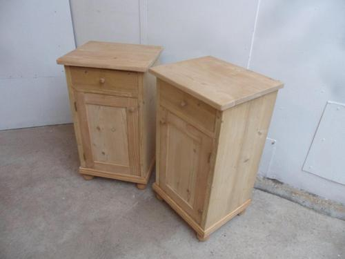 Small Pair of Antique Pine Victorian Bedside Cabinets to wax / paint (1 of 9)