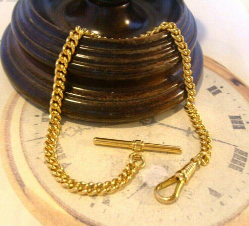 Vintage Pocket Watch Chain 1970s 12ct Gold Plated Curb Link Albert With T Bar (1 of 9)