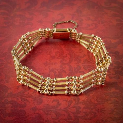 Antique Victorian 15ct Gold Gate Bracelet c.1900 (1 of 5)