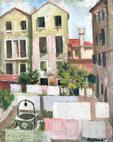 Original oil on canvas laid onto board 'Italian village c.1955' by Toby Horne Shepherd 1909-1993 (1 of 1)