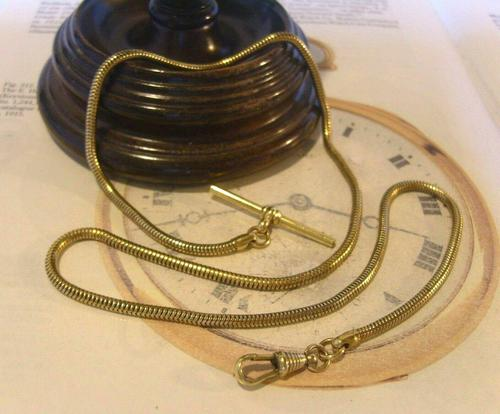 Antique Pocket Watch Chain 1930s Very Long Brass Snake Link Albert With T Bar (1 of 12)