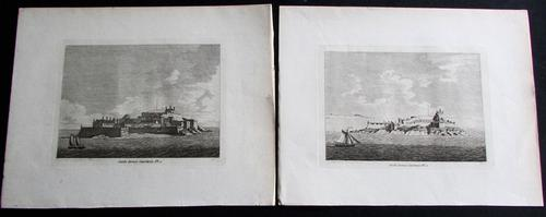 Pair of Original Engravings of Castle Cornet Guernsey Dated 1777 (1 of 3)