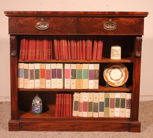 19th Century Mahogany Open Bookcase with Two Drawers (1 of 12)