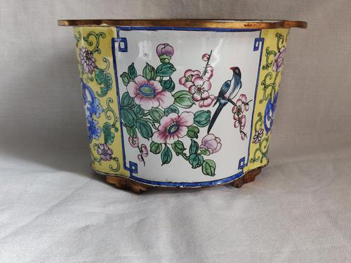 Antique Chinese Canton Enamel Planter / Pot Enamel on Copper Hand Painted (1 of 14)