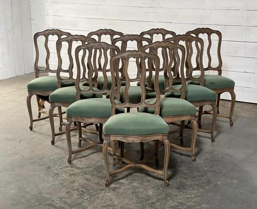 Set of 10 French Bleached Oak Farmhouse Dining Chairs (1 of 16)