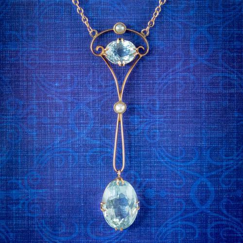 Antique Edwardian Aquamarine Pearl Lavaliere Necklace 9ct Gold 4.30ct of Aqua c.1905 (1 of 7)