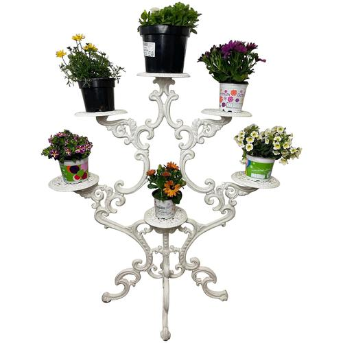 Victorian 19th Century Garden Cast Iron Painted White 6 Branch Plant Stand (1 of 47)