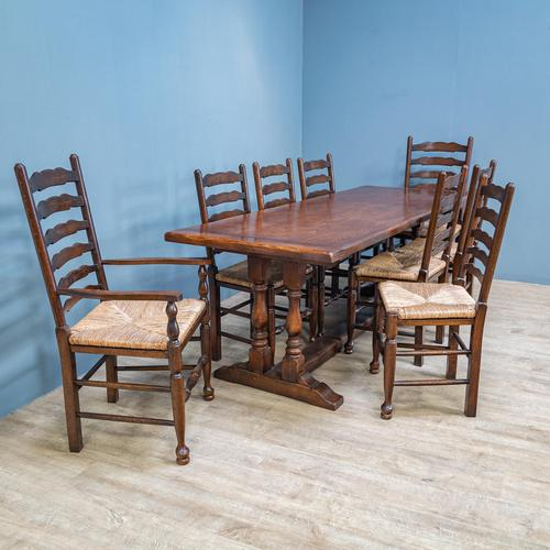Refectory Table and 8 Ladderback Chairs (1 of 11)