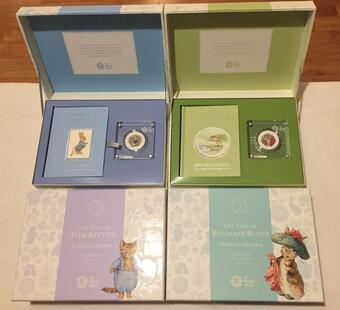 Beatrix Potter Silver Proof 50p Coins Complete set of 4 Rare sets (1 of 2)