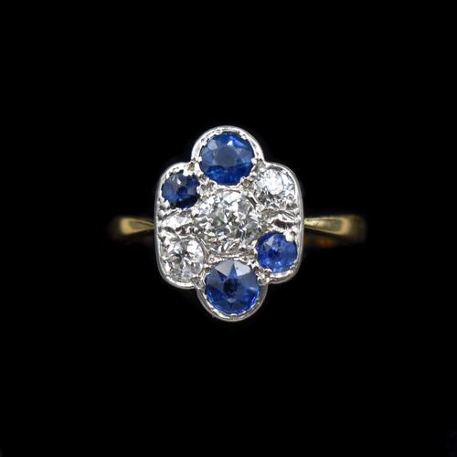 Antique Blue Sapphire and Old Cut Diamond Cluster 18ct 18K Yellow Gold and Platinum Ring (1 of 10)