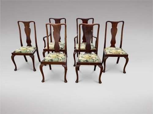 Set of Six 19th Century Queen Anne Style Dining Chairs (1 of 6)