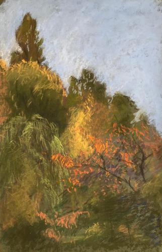 Original pastel 'Treescape, early autumn' by Dennis Gilbert NEAC.b.1922 c.1980 (1 of 1)