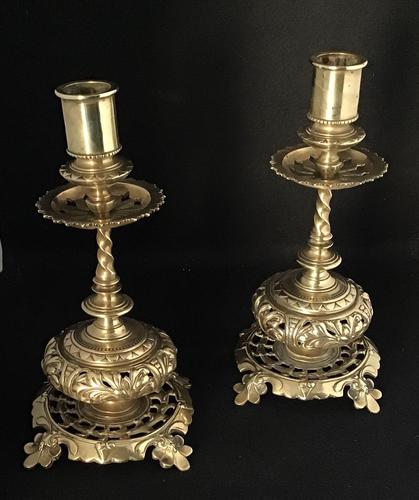 Pair of Victorian Ornate Brass Candlesticks (1 of 5)