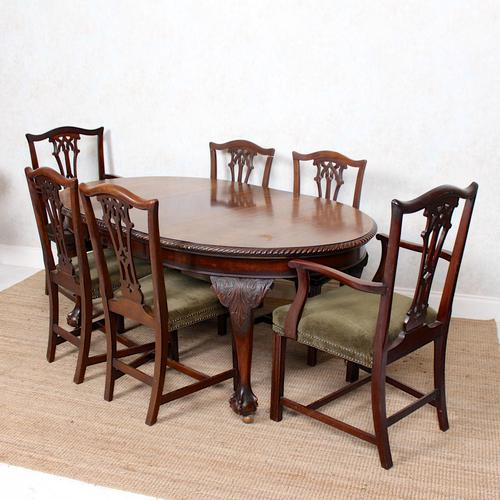 Oak Dining Table & 6 Chairs Telescopic 19th Century (1 of 19)