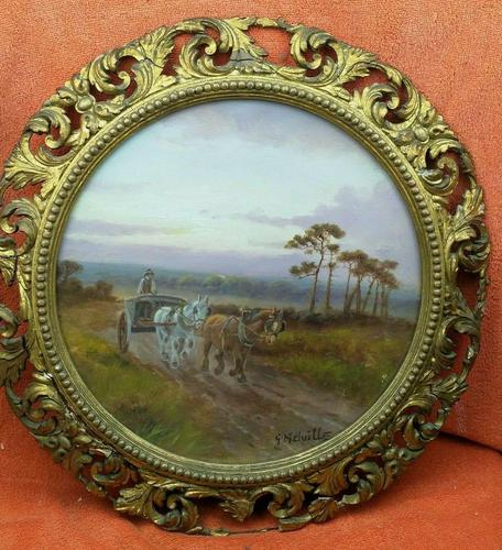 Antique Oil on Board Original Painting by G Meville - Horse & Carriage c.1880 (1 of 12)