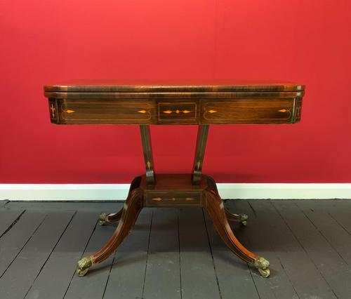 Exceptional Regency Period Rosewood Inlaid Fold-over Occasional Card Games Table (1 of 14)