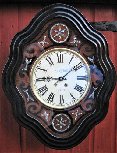 Wonderful 1880's French Striking Oval Vineyard Wall Clock by Japy Frères. (1 of 8)