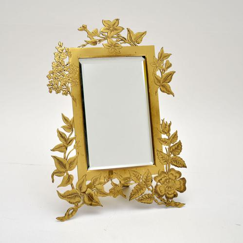 Antique Art Nouveau Brass Table Top Mirror / Picture Frame (1 of 7)
