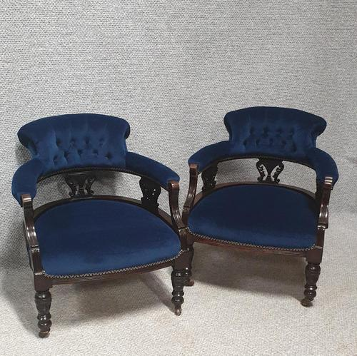 Pair of Victorian Mahogany Tub Chairs (1 of 7)