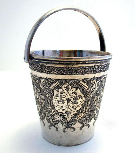 Beautiful Antique Persian Islamic Middle Eastern CREAM PAIL Solid Silver Small Cup Beaker Basket c.1910 (1 of 5)