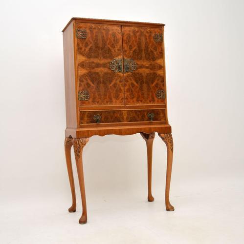 Queen Anne Style Burr Walnut Cocktail Cabinet c.1930 (1 of 11)