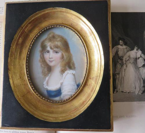 Hand Painted Miniature Portrait Young Girl c.1920 (1 of 3)