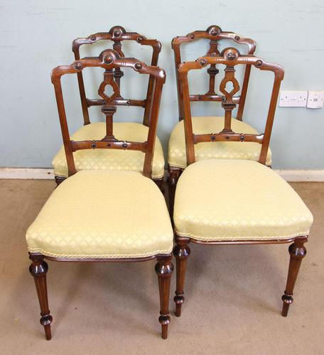 Antique Set of Four Victorian Walnut Dining Chairs (1 of 6)
