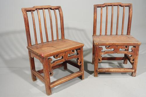Attractive Pair of Early 20th Century South Chinese Elm Chairs (1 of 3)