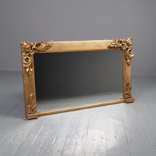 Victorian Hand-Carved Giltwood Overmantel Mirror (1 of 9)