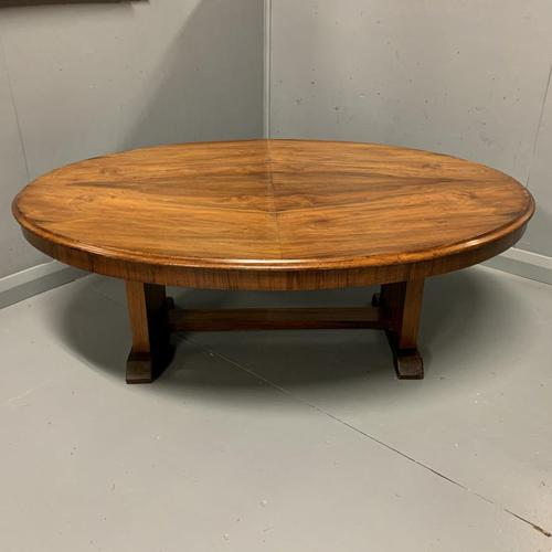 Large oval walnut coffee table with trestle base (1 of 6)