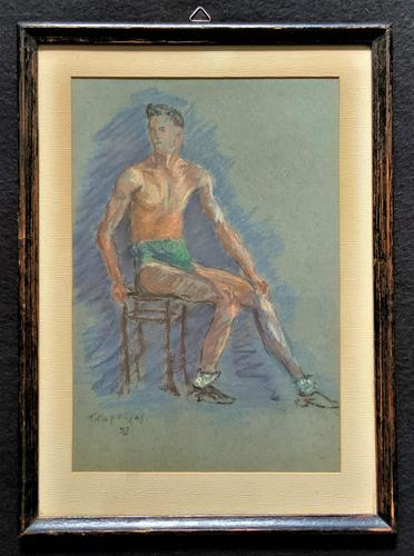 Russian School? Superb 1952 Signed Charcoal Portrait Sketch A Male Model Dancer (1 of 10)